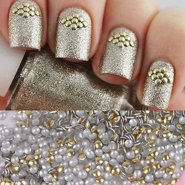 1 Bag 1.5mm Golden Stud 3D Nail Decorations Acrylic UV Gel Rhinestones for DIY Manicure Nail art Decorations