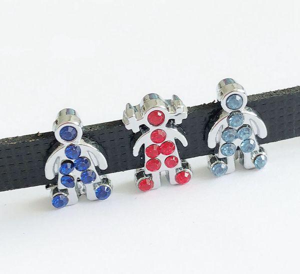 10pcs 8mm Mixed Color Rhinestone Boy&Girl Slide Charms Slide Letters Hang Pendants DIY Accessories Fit 8mm Belts, bracelets, necklaces
