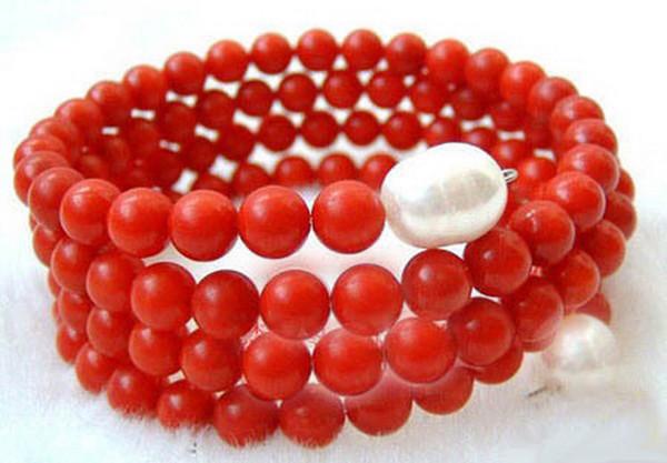4 строки подлинного реального красного коралла белый жемчуг регулируемый браслет браслет
