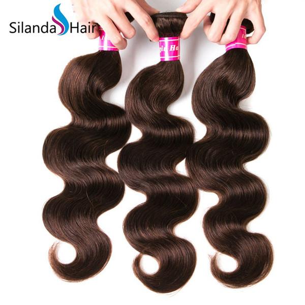 Silanda Hair Dark Brown #2 Brazilian Remy Human Hair Bundles Body Wave Hair Weft 3pcs per pack Free Shipping
