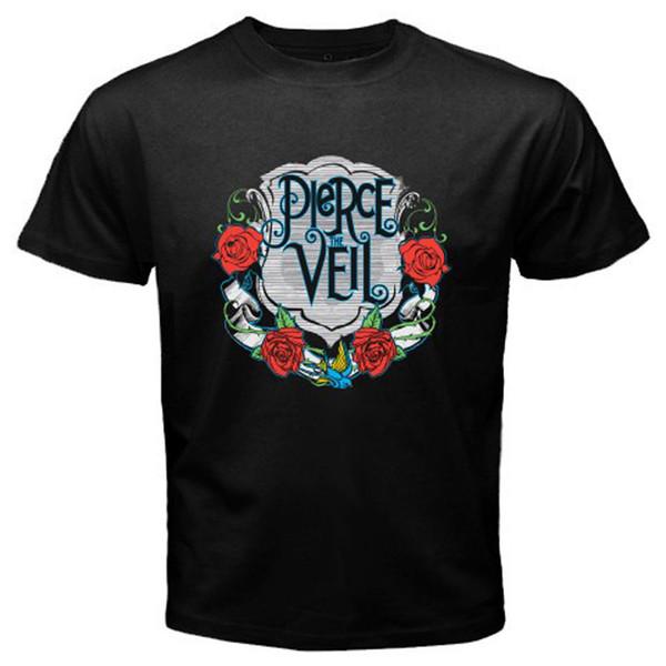 New Pierce the Veil Rock Band Logo Men's Black T-Shirt Size S-3XL T shirt printing Fashion Style Men Tee 2018 hot tees