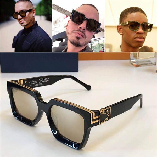 best selling New men brand designer sunglasses 96006 Millionaire square frame sunglasses retro vintage shiny gold summer style laser logo top quality