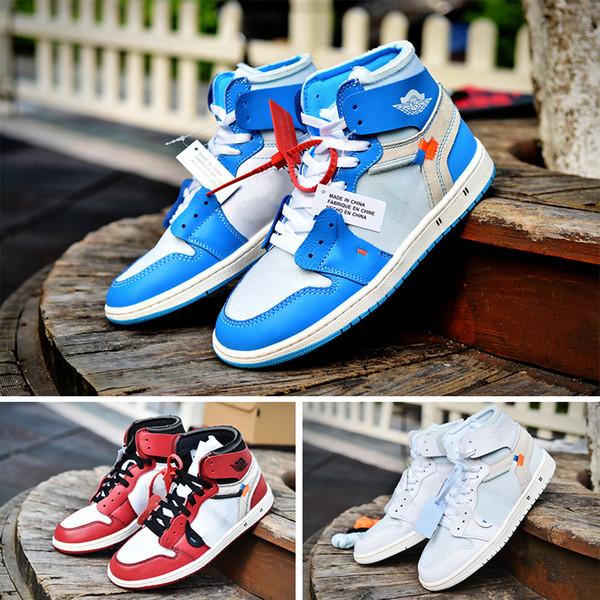 Calidad superior Air Jordan Off White 1 OG X Blanco zapatos de baloncesto para hombre 1s OG Chicago blanco rojo UNC polvo azul zapatillas de deporte hombres 2018 otoño entrenadores desingner