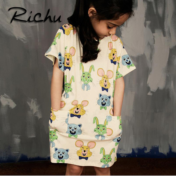 Richu knee length summer dresses for girls christmas costumes for kids red striped baby girl clothes dresses baby clothing Made In China