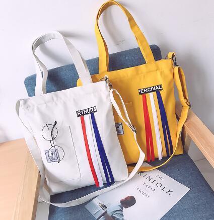 Bolsa de lona nova, bolsa de lona de estudante, arte de moda, bolsa de lona de estudante de ombro simples simples.