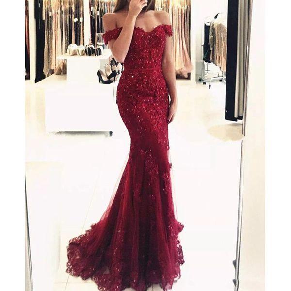 Elegante Borgonha Fora Do Ombro Frisado Sereia Vestidos de Baile 2019 Frisada Lace Apliques Até O Chão Vestidos de Noite Formais Frete Grátis