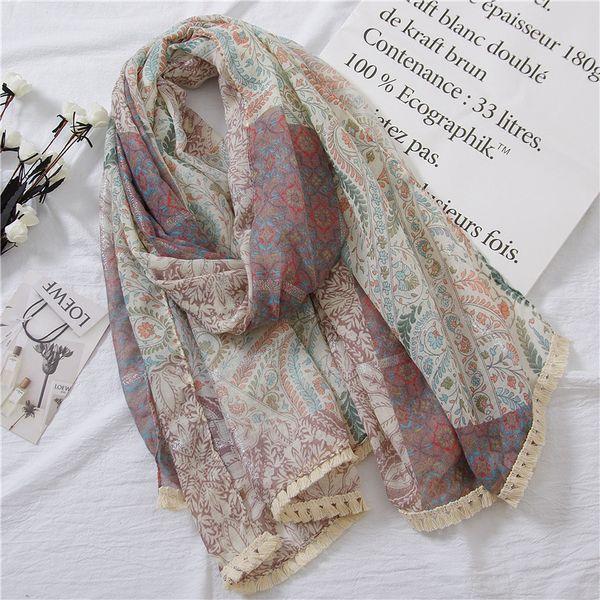 2018 New Paisley Pattern Silver Lurex Stitch Scarves Shawl Women Floral Print Tassel Wrap Hijab Muffler Wholesale 10pcs/lot