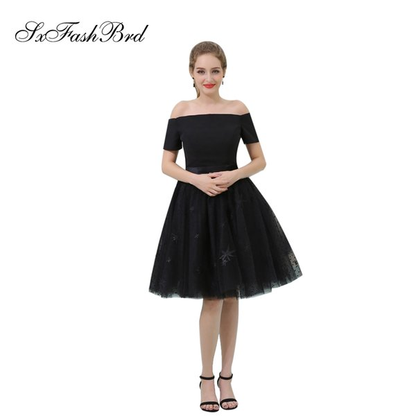 Elegant Girls Dress Boat Neck Short Sleeves A Line Short Black Tulle Party Formal Evening Dresses for Women Prom Dress Gowns