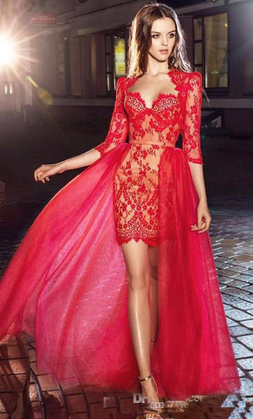 2018 Stunning Modern Red Lace Prom Dresses With Detachable Train Short Party Evening Wear 34 Long Sleeves Celebrity Gown Aidan Mattox Prom Dresses