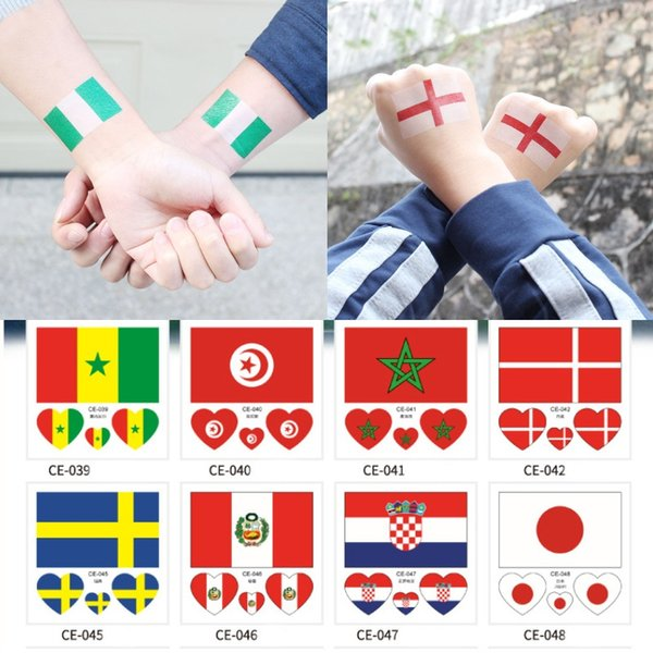 Russia 2018 World Cup Tattoo Stickers Waterproof National Flag Football Fans Banners Face Stickers Heart-Shaped On Face Arm 32 Teams G692R
