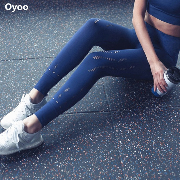 Oyoo Classical Compression High Waist Yoga Pants Sexy Hollow Out Fitness Leggings Quick Dry Push Up Seamless Legging For Women