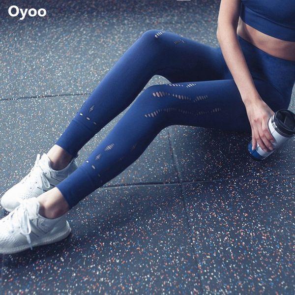 Oyoo Klassische Kompression Hohe Taille Yoga Hosen Sexy Aushöhlen Fitness Leggings Schnell Trocknend Push-Up Nahtlose Legging Für Frauen