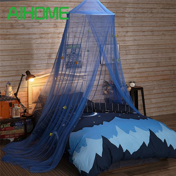 Polyester Children Room Dome Canopy Kids Play Tent Mosquito Net with Blue Stars for Baby Kids Indoor Outdoor Playing Reading