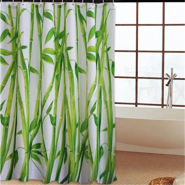 180 cm x 180 cm SPA rideau de douche étanche décor de salle de bain décorations florales vert bambous automne arbres
