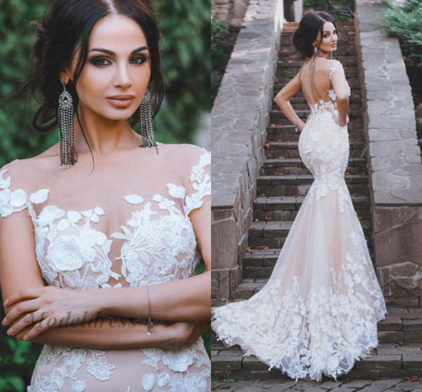 Sexy Backless Mermaid Wedding Dresses Sheer Neck Short Sleeves Transparent Lace Appliques Handmade Bridal Gowns for Weddings robe de mariée