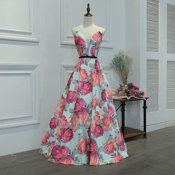 2018 new arrival gorgeous style dress evening prom party dress floral print pattern Vestido de Festa sexy v-neck long formal style dress