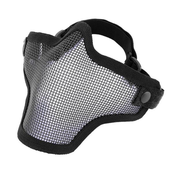 La moitié inférieure de la face en métal en acier Net Mesh Chasse Tactique De Protection Airsoft Masque Gofuly livraison gratuite