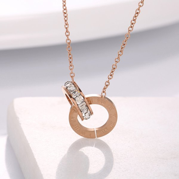 High Quality Rose Gold Double circle Pendant Necklace with Clear CZ stone Women's Diamond Necklaces Korea Clavicle Necklace Anti-allergy