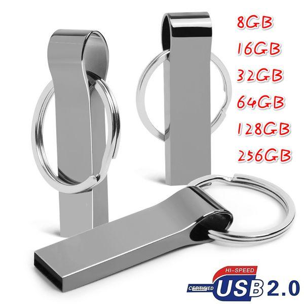 Waterproof Metal USB Flash Drives pen drive 8GB-256GB Flash Drive with key ring