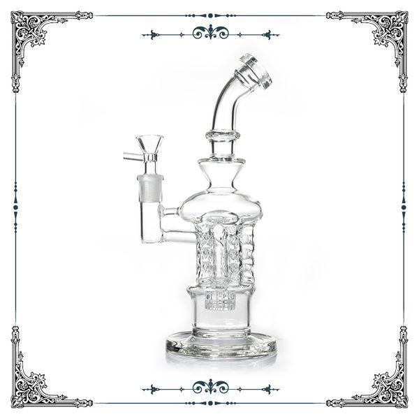 Swiss perc bongs 10 inch glass smoking water pipe with matrix tyre percolator glass hookah bong 14mm joint free shipping