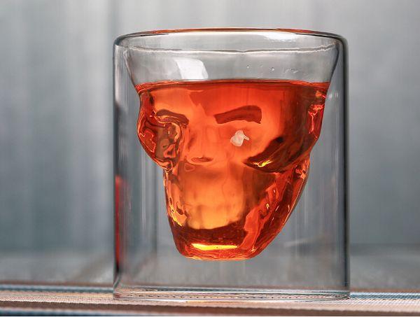 Personality Bar Wine Glass Creative Double Transparent Glass Skull Wine Glass Water Crystal Beer Mug Drinkware