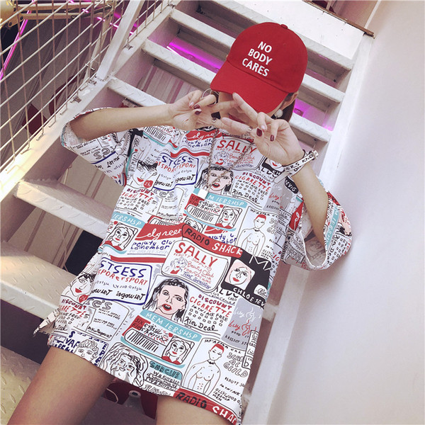 2018 New Harajuku T shirt women fashion Design Cartoon print t-shirts Ladies Short Sleeve casual Large size loose Tops Girl Tee
