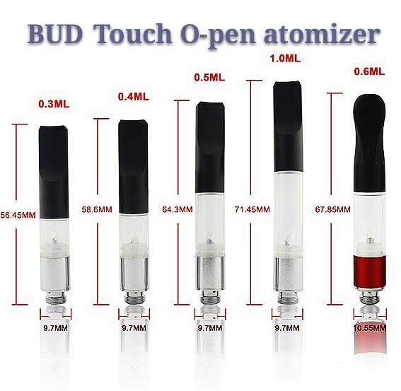 Top Quality BUD Touch Vaporizer WAX Thick Oil Atomizers 510 Cartridges O Pen CE3 vapor Waxy Smoking Mini Tank vape Co2 Cartridge vape DHL