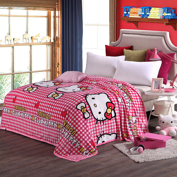 Children Pink Hello Kitty Cartoon Plush Blanket on the Bed Soft Sofa Throw Blanket Brand Twin Full Queen King Size Sheet
