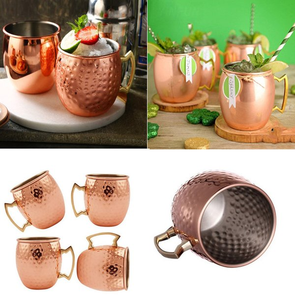 530ML Moscow Mule Mug Copper Mug Stainless Steel Beer Cup Rose Gold Hammered Copper Plated Drinkware Wedding Wine Glass Gift Retail Price