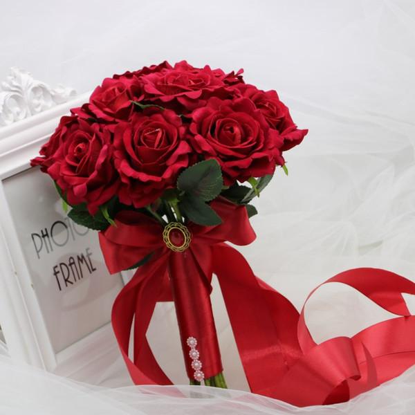 Bouquet Sposa Rosso.Acquista 2018 Bouquet Da Sposa Rosso Fiori Fatti A Mano Bouquet Da