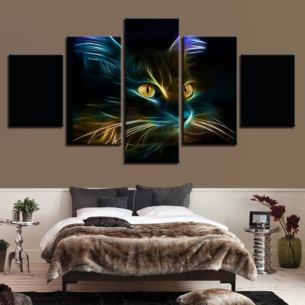 Home Decor Cuadros Modular Popular Pictures Poster 5 Panel Animal Cat Print Painting For Living Room Frame High Quality Canvas