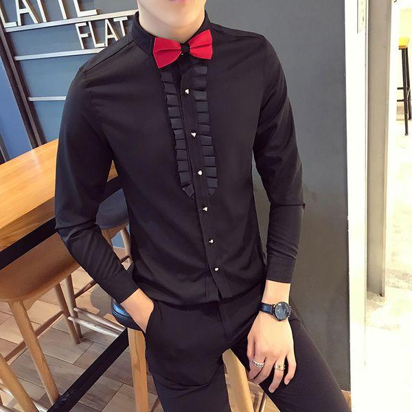 Men's long-sleeved shirt groom wedding dress Slim-free hot shirts best man Korean version of the small square collar shirt
