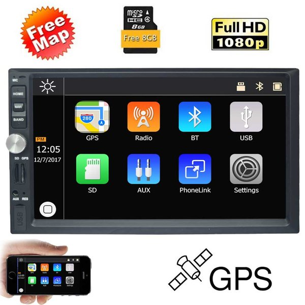 EinCar 7 '' Araba MP5 Çalar Dash GPS Navigasyon Araba Stereo MP3 Çalar 2Din Dash Bluetooth FM Radyo 1080 P Video Multimedya Alıcısı