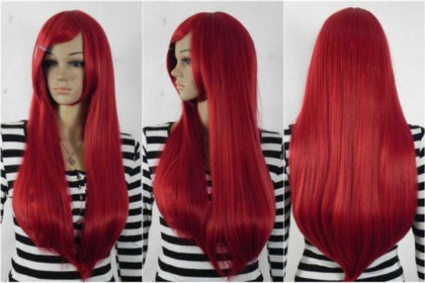 UKJF2210 beautiful Stylish long straight red women's hair w wigs for women