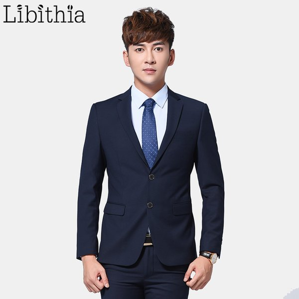 Wholesale-Men 2 Pieces Slim Fit Suits Jacket and Pant Suits Mens Formal Blazer Costume Homme Wedding Dress One/Two/Three Buttons Grey Blue