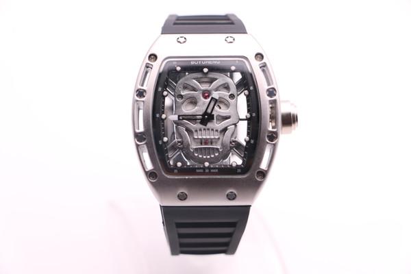 BOYUHENG high quality watch 052 man cool silver skull dial man's rubber black/white Circle silver steel case quartz watch