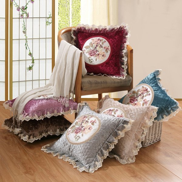 Vintage Embroidered Cushion Cover Decorative European Lace Pillowcase Chair Seat Square Pillow Cover Home Living 55*55cm