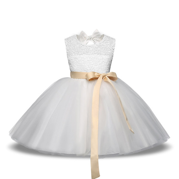 White Flower Girl Dress Party Wedding Princess Tulle Bow Dresses Children Clothes Kids Pageant Prom Formal Bridal 4-10Y Dress