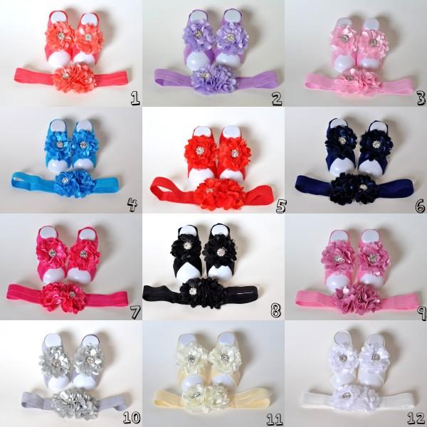 12 Colors Chiffon Flower Baby Barefoot Sandal Headband Set With Rhinestones for Summer Pre-Walker Infant Toddler Newborn Baby Shower Gift