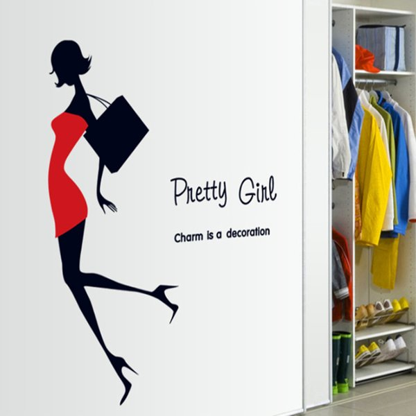 creative fashion Modern Beauty with Red Dress Black Bag home decor wall sticker pretty girl women room clothing store decoration