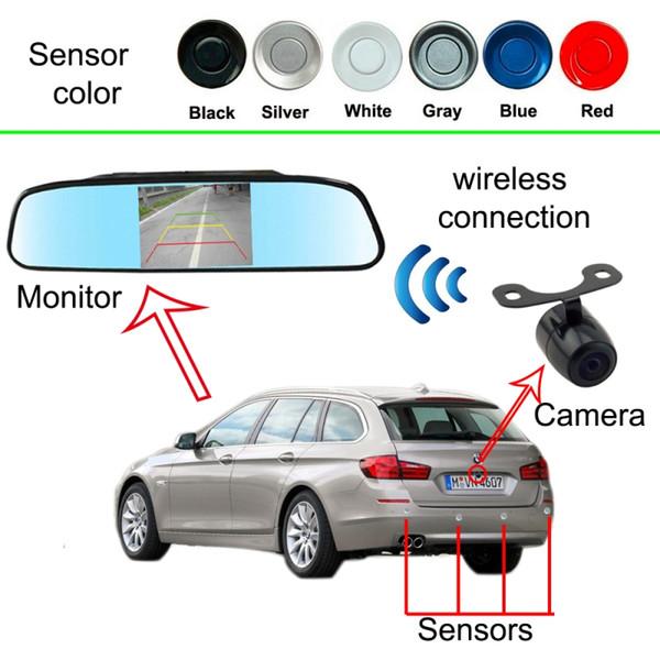 3in1 Sem Fio de Vídeo Sensor de Estacionamento Câmera + 4.3 polegada de tela + 4 sondas ultra-sônicas Retrovisor Do Carro Sistema de Radar Reverso