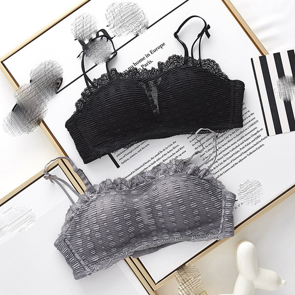 French lace boob tube top white dress small seamless intimates push up wireless thicken cup underwear women bra set for girls