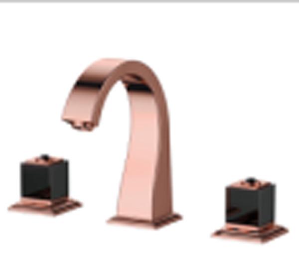 "Rose gold 8"" Widespread Ceramic Valve Three Holes 3 Pcs lavatory Bathroom Washing Basin Mixer Tap Sink Faucet square design"