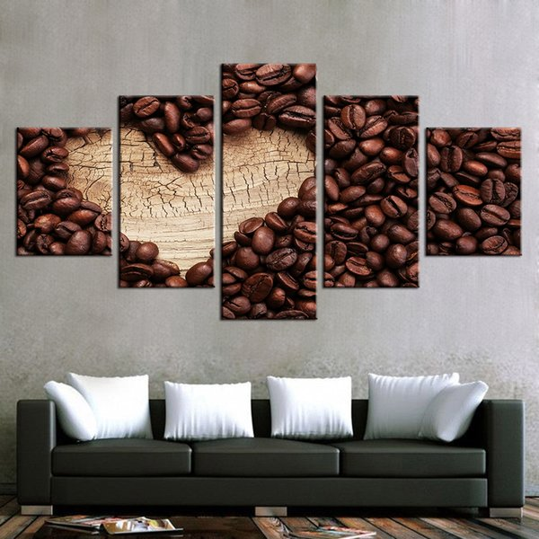Canvas Paintings Wall Art Framework Modern 5 Pieces Love Coffee Posters HD Prints Coffee Bean Pictures Living Room Decoration