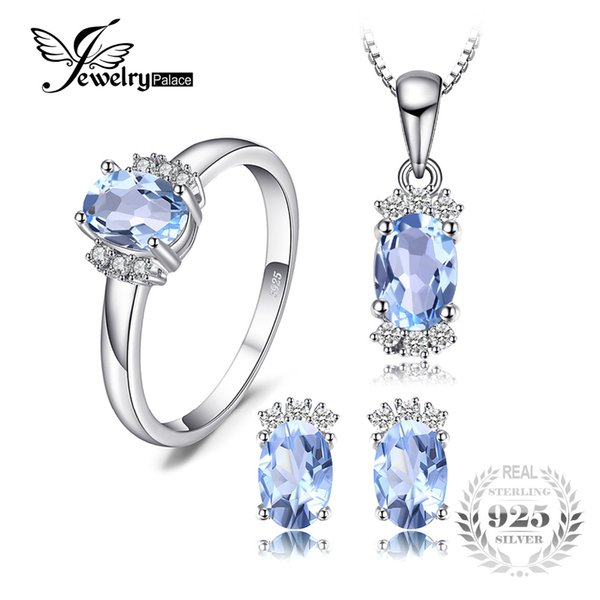 Jewelrypalace камень 3.2 ct подлинная Овальный небесно-голубой топаз кольцо кулон ожерелье серьги ювелирные наборы стерлингового серебра 925