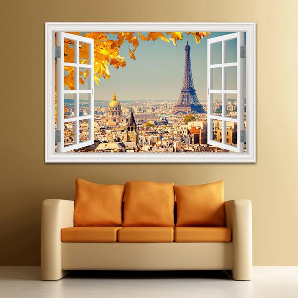 3D Window Visualizza Wall Sticker Sunset Landscape City Adesivo Decalcomania Vinile Carta da parati Home Decor Soggiorno