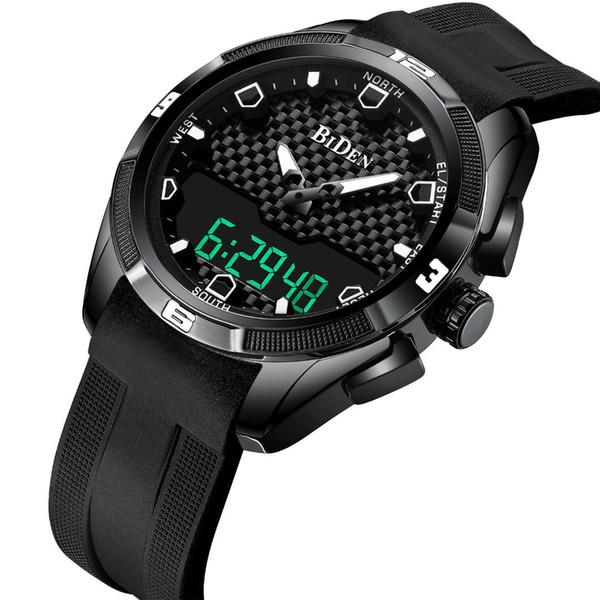 Damen Herren Armbanduhren Sport Silikon Quarz digitale Damen Herrenuhren BIDEN Marke Frau Mann Uhren wasserdicht schwarz rot