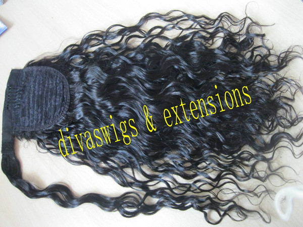 16inch Wrap Around Kinky curly Indian Remy Hair Ponytail Hairpiece Clip in drawstring ponytail hair extension 120g for black women
