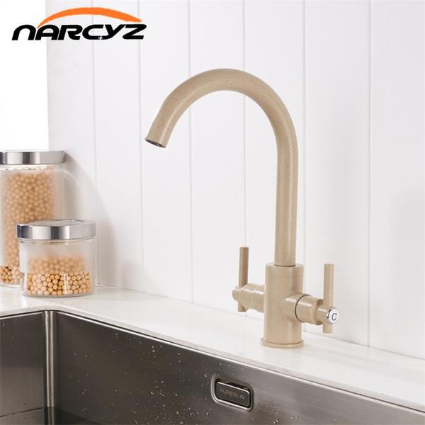 Envío gratis color beige grifos de cocina dobles manos ronda baño fregaderos grifos de pared doble agujero mezcla agua grifo XT-15