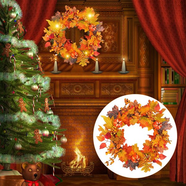 Christmas Wreath Wedding Decoration Home hotle mall Decor Berry Apple Autumn Harvest Gold Handcraft Hangers decoration ornament